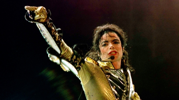 Michael Jackson performing during his concert in Vienna.