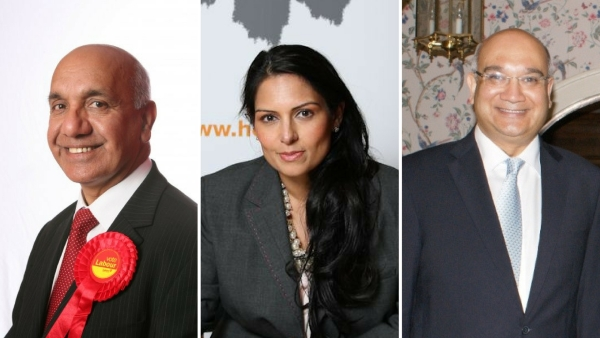 Incumbent MPs Virendra Sharma, Priti Patel, and Keith Vaz (Photo: Altered by <b>The Quint)</b>
