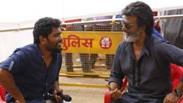 Director Pa Ranjith and Rajinikanth on the sets of <i>Kaala </i>in Mumbai.
