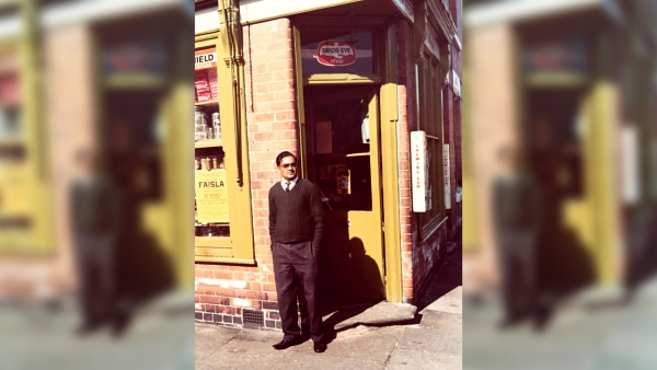 Front view of late Chhaganlal Mistry's shop in Leicester. (Photo Courtesy: Hemendra Mistry)