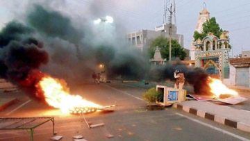 A scene after violent clashes erupted in Mandsaur on Tuesday. (Photo: PTI)
