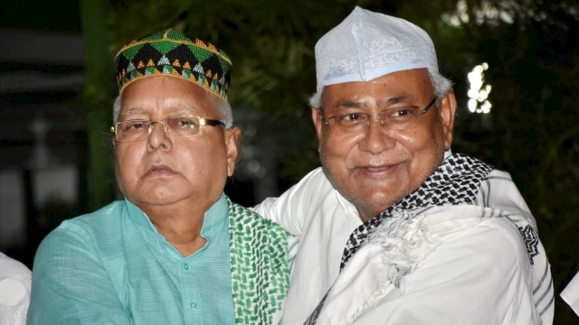 Bihar Chief Minister Nitish Kumar and RJD chief Lalu Prasad Yadav at the latter's Iftar party, last year.