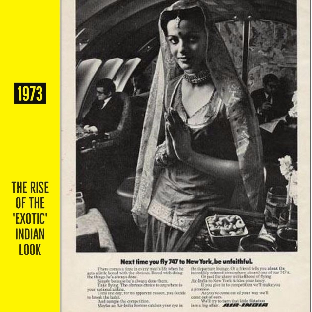 """A 1973 Air India Ad that reads """" Next time you fly 747 to New York, be unfaithful."""""""