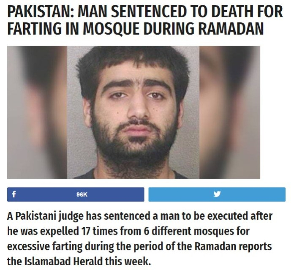 Hoax Alert: Pak Man Sentenced to Death for Farting Was Satire - The