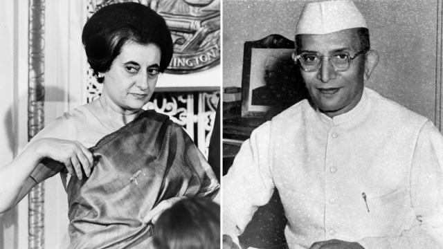 Indira Gandhi and Morarji Desai.