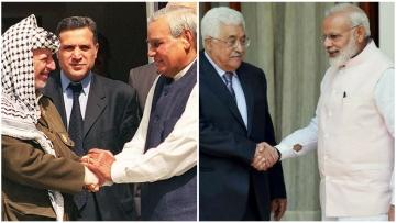 Former PM Atal Bihari Vajpayee with Palestinian leader Yasser Arafat and Prime Minister Narendra Modi with Palestinian President Mahmoud Abbas.