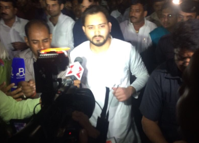 Tejashwi Yadav outside the Raj Bhavan on Thursday morning.