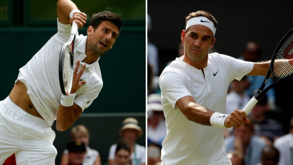 Novak Djokovic and Roger Federer in action during their respective Wimbledon first round matches.