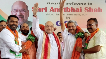BJP Chief Amit Shah and Goa Chief Minister Manohar Parrikar.