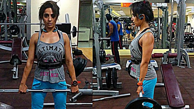 Shweta Mehta working out at the gym.