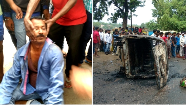 Alimuddin Ansari was made to pose for photos while he was being beaten. On the right is the Maruti van that was burnt on Thursday.
