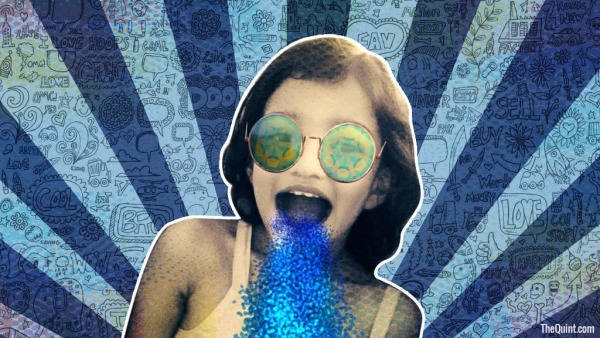 No, she hasn't swallowed a tube of glitter. It's a Snapchat filter – the only one that I find remotely 'cute'. (Photo: <b>The Quint</b>)