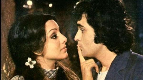 Neetu Singh  and Rishi Kapoor in a scene from <i>Khel Khel Mein. </i>