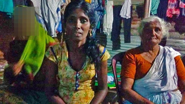 Pappathi (right) has to look after her six-member all-women family while living in a makeshift house by the roadside in Kerala's Thrissur district.