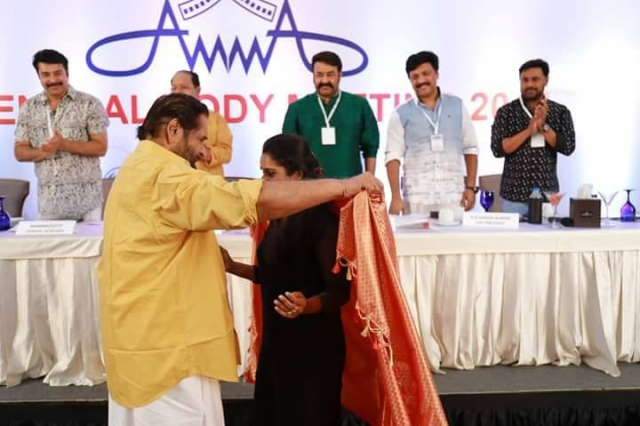 The biggest stars of Malaylam cinema - Mammootty, Innocent, Mohanlal, Dileep at the AMMA general body meeting.