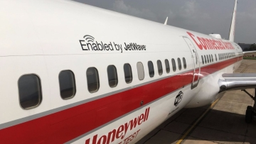 Honeywell Aerospace's Boeing 757 Connected Aircraft showcases in-flight Wi-Fi and other connected technologies.