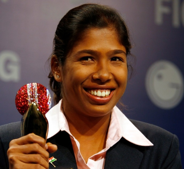 Jhulan Goswami holds the ICC Women's Player of the Year award in 2007.