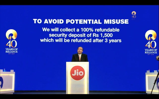 JioPhone to be available for a security deposit of Rs 1,500