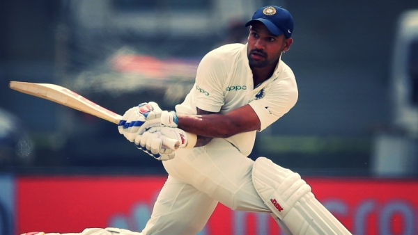 Shikhar Dhawan plays a shot during day one of the first Test against Sri Lanka in Galle on Wednesday.