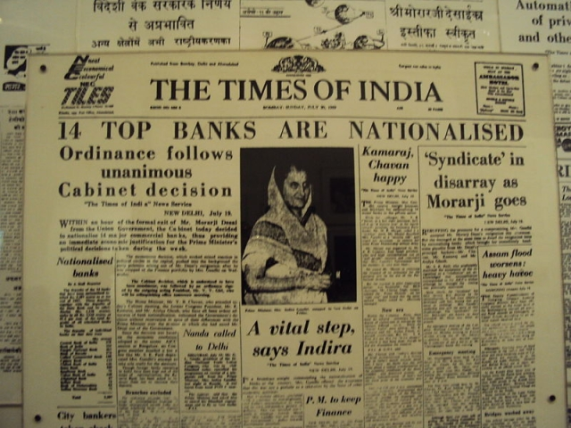 A Times of India newspaper announcing the nationalisation of banks.