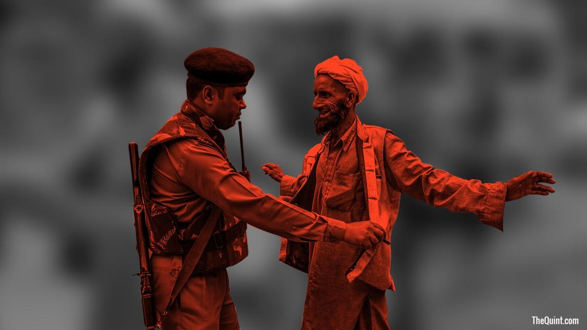 CRPF personnel frisk a civilian.