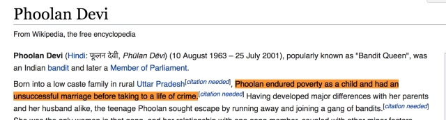 """Phoolan endured poverty as a child and had an unsuccessful marriage before taking to a life of crime."""