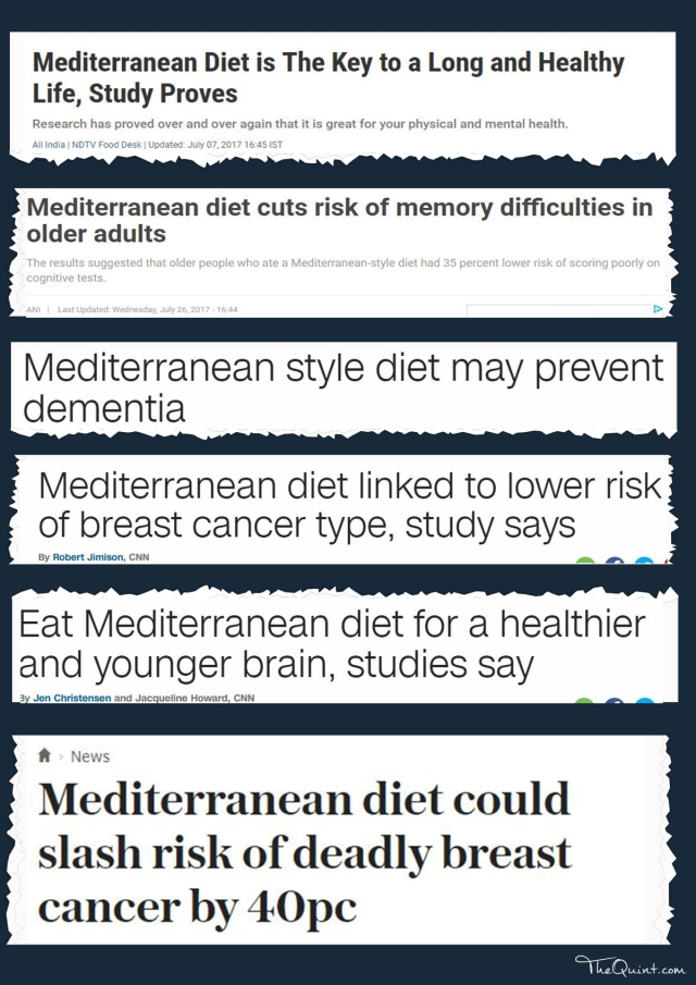 Snapshots of various headlines from different publications point at the benefits of mediterranean diet.