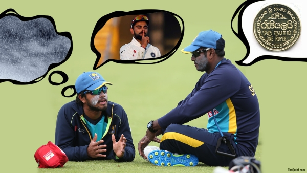 Dinesh Chandimal and Angelo Mathews have a chat during a nets session.