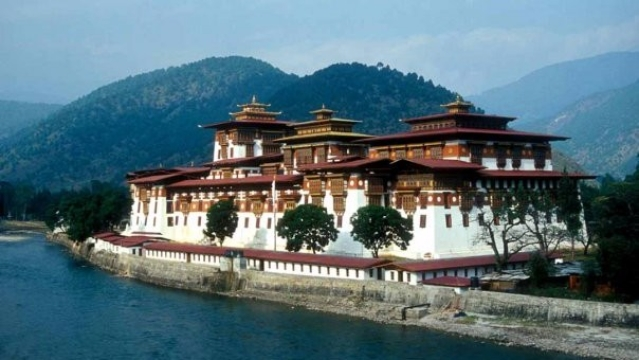 Punakha, the administrative centre of Punakha Dzongkhag, one of the 20 districts of Bhutan.