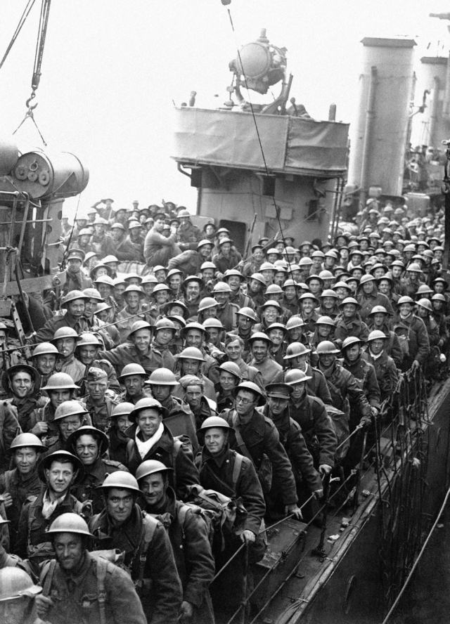 Hundreds of men of the British Expeditionary Force withdrawn from Dunkirk and northern France arrive in England on 31 May 1940.