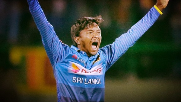Sri Lanka's Akila Dananjaya appeals for a wicket during the second ODI against India.