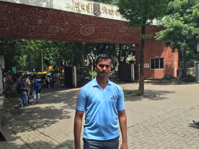 Swapnil reached Mumbai University to meet fellow students.