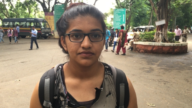 Mansi Joshi heads to her MA class in Mumbai University campus.