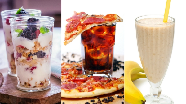 Yoghurt smoothies with dollops of fruits, cheesy food with aerated drinks and milk with bananas are food combinations you must stay away from.