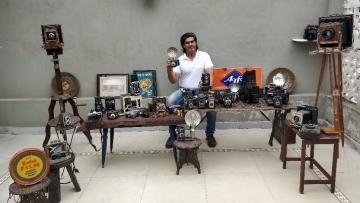 Aditya Vij from Delhi has been collecting cameras for fun.