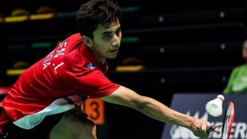 File photo of Indian badminton player Lakshya Sen who has reached the quarters of the World Junior Championships.