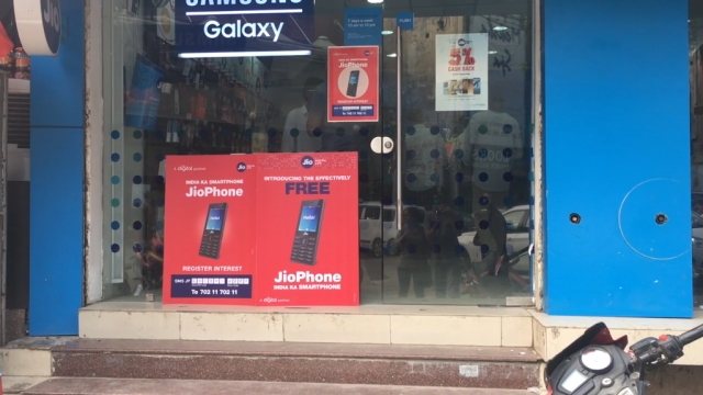 A Jio store in Noida during the opening day of the JioPhone pre-booking