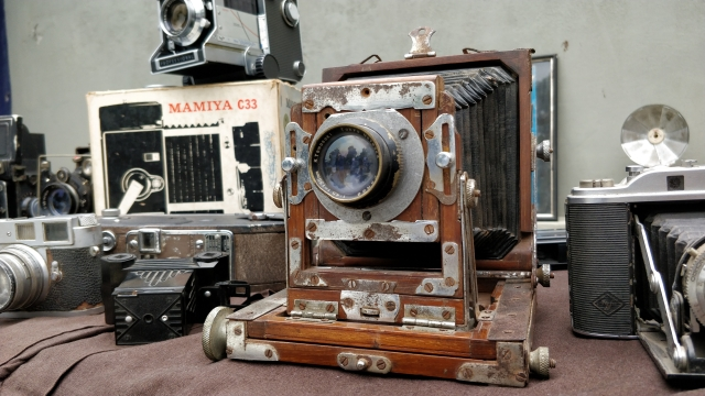 One of the many vintage cameras on show.