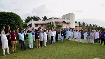 Gujarat Congress MLA show their unity at a press conference at a resort on the outskirts of Bengaluru.