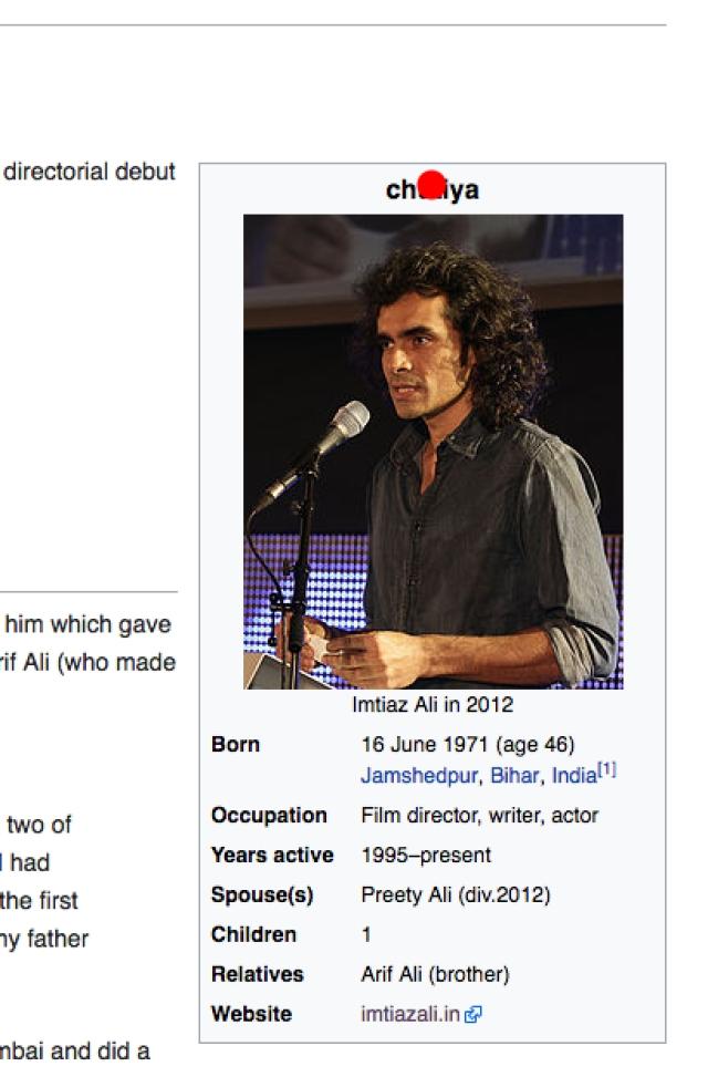 Imitiaz Ali's Wikipedia page.