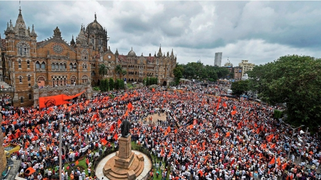 A gathering of Maratha community perople during a silent protest in Mumbai