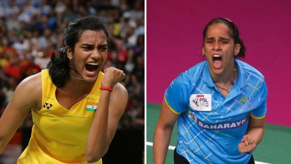 PV Sindhu and Saina Nehwal both played first round matches at the China Open on Tuesday with only Sindhu progressing to the next round.