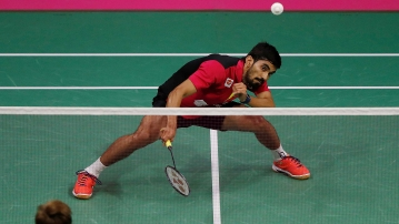 Kidambi Srikanth in action during the World Championships.