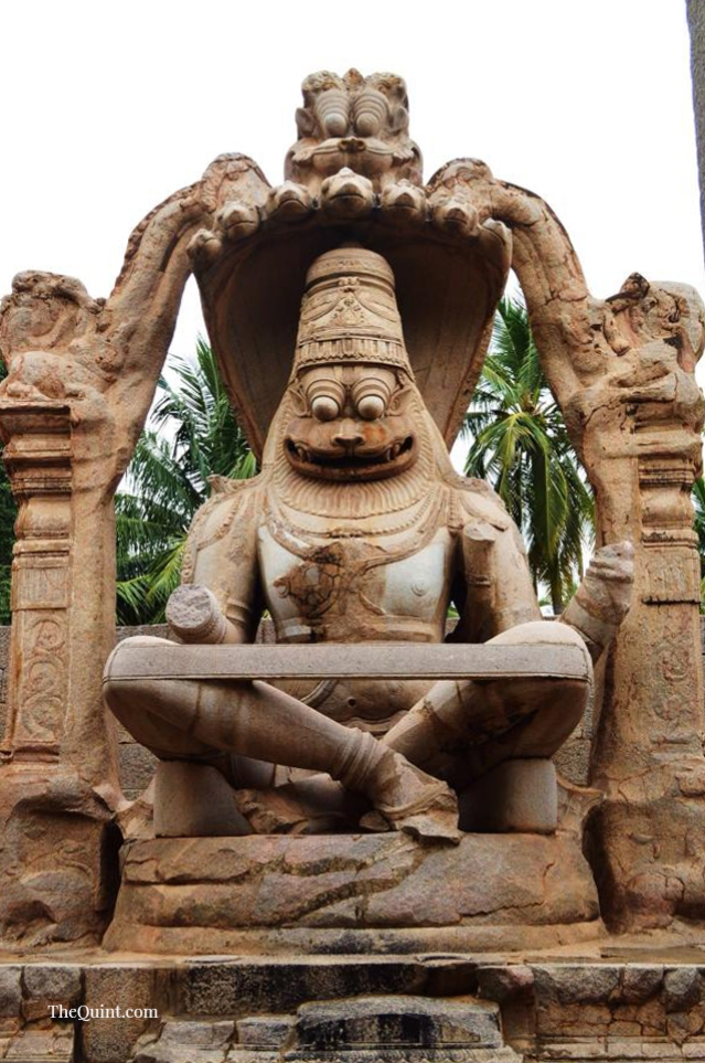 The Lakshmi Narsimha statue was built in the 16th century. The original statue had his consort Lakshmi sitting on Narsimha's lap. During the Deccan Muslim Confederacy siege of Hampi, the statue was vandalised and the consort torn apart.