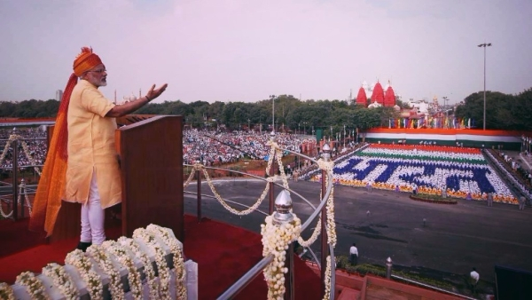 India's Prime Minister Narendra Modi speaks at the Red Fort on India's 71st Independence Day.