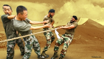 File photo of Indian and Chinese soldiers participating in a joint exercise, hand-in-hand, 2015.