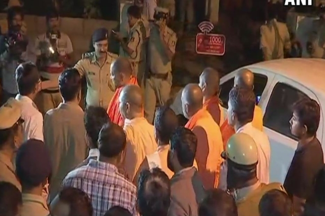 Visuals from outside Gauri Lankesh's residence