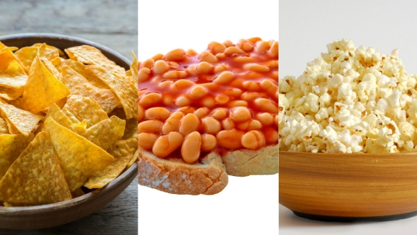 Popcorns (right) , tortilla chips (left) and bakes beans on toast (centre).