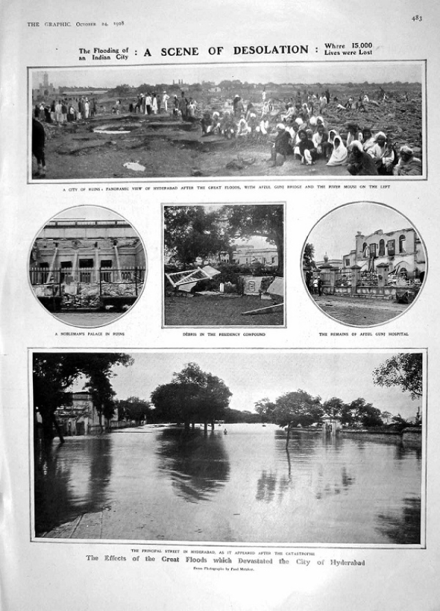 "The damage of the flood was <a href=""https://cdnc.ucr.edu/cgi-bin/cdnc?a=d&d=LAH19081003.2.42&srpos=24&e=-------en--20--21--txt-txIN-hyderabad------"">estimated</a> to be Rs 20 crore."
