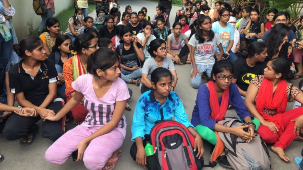 Students protesting at BHU.